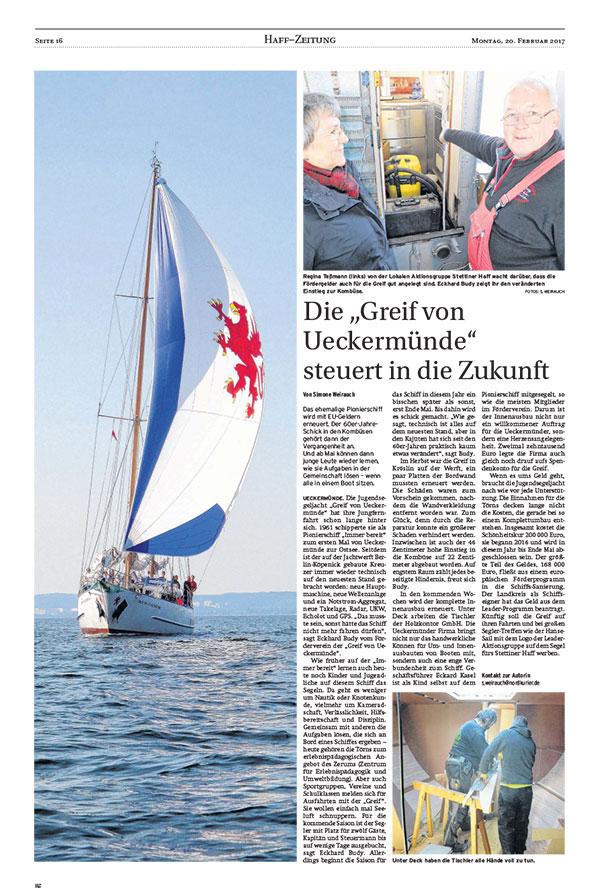 """Die """"Greif von Ueckermünde"""" steuert in die Zukunft"""