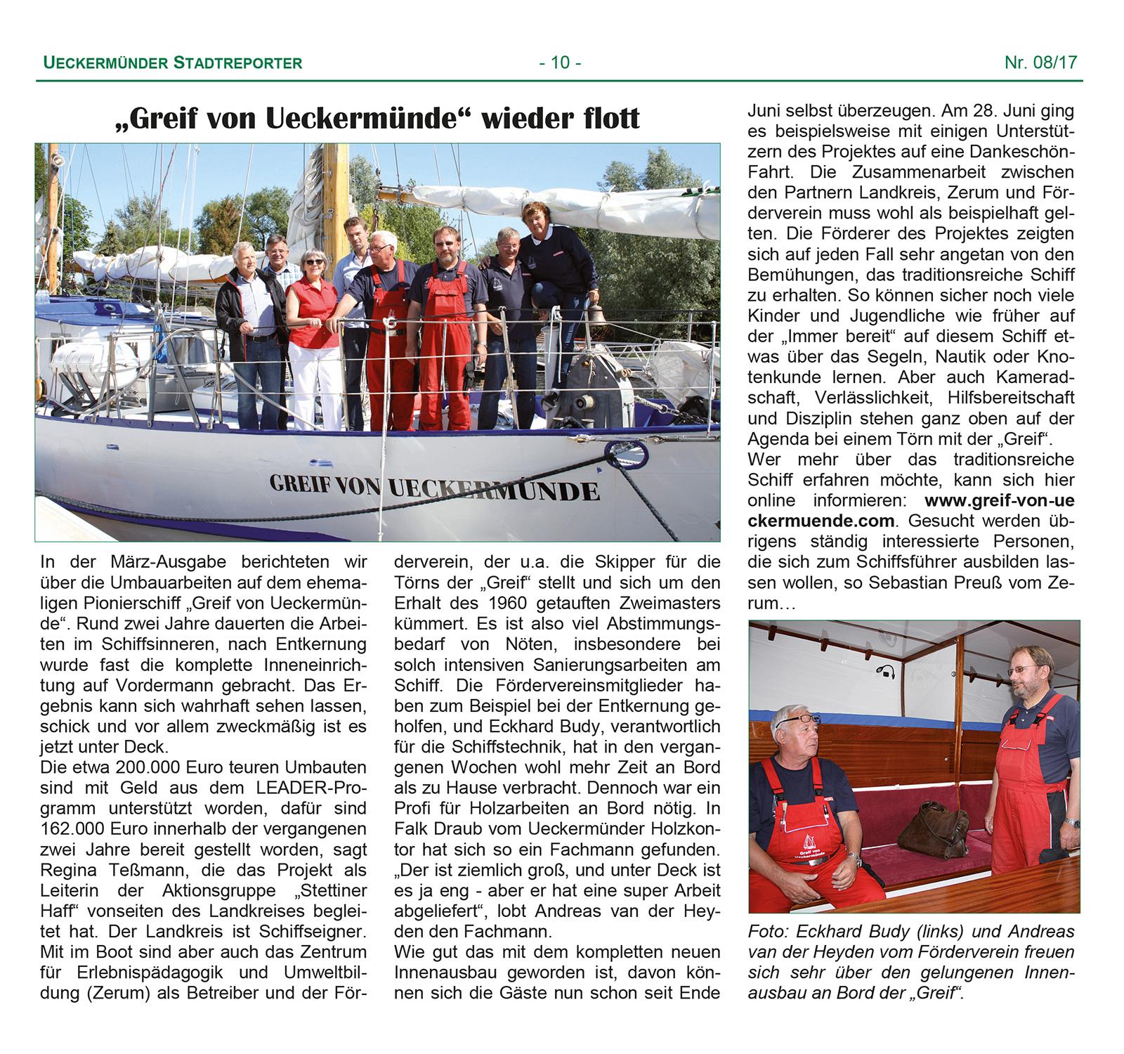 """""""Greif von Ueckermünde"""" wieder flott"""