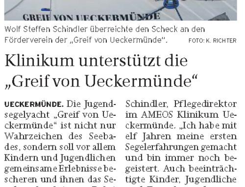 """Klinikum unterstützt die  """"Greif von Ueckermünde"""""""