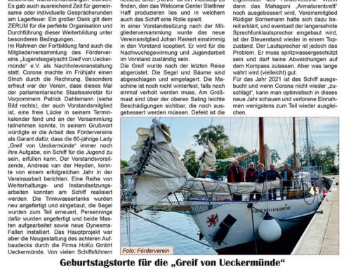 """Neues vom Förderverein """"Jugendsegelyacht Greif von Ueckermünde"""" e.V."""