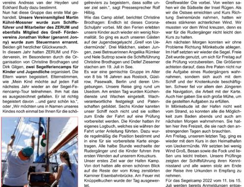Neues vom Förderverein JSY Greif von Ueckermünde